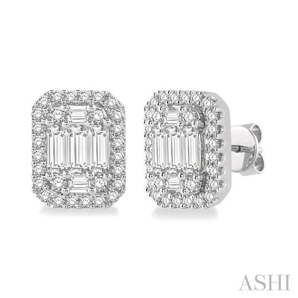 3/8 Ctw Octagonal Baguette & Round Cut Diamond Stud Earrings in 14K White Gold Seita Jewelers Tarentum, PA