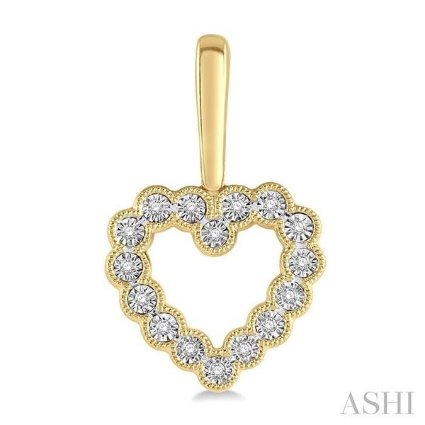 1/8 ctw Scalloped Heart Charm Round Cut Diamond Earring in in 10K Yellow Gold Image 2 Seita Jewelers Tarentum, PA