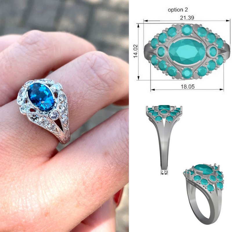 Vintage Inspired Topaz and Diamond Ring Custom Design Project at Joint Venture Jewelry