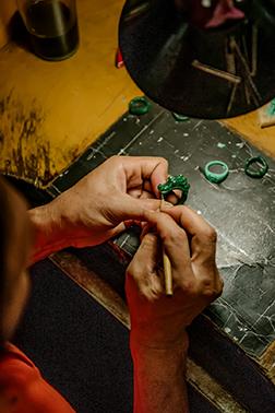 Bali Jeweler Working on John Hardy Rings.