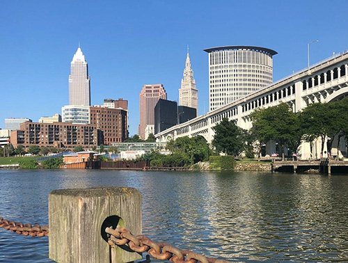 Cuyahoga River against the Cleveland Ohio skyline.
