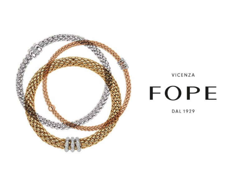 FOPE is known for its high-end jewelry and luxurious aesthetic. Visit Peter & Co. Jewelers for more information.