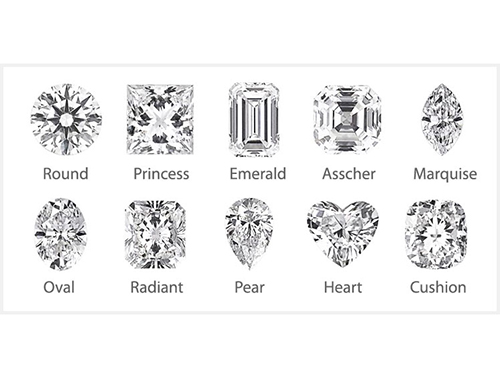 Lineup of Different Shapes Available for Diamonds