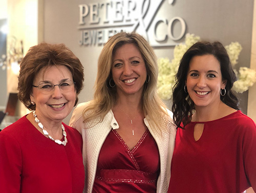 Theresia, Tammy and Kimi Posing in Front of Peter & Co. Jewelers Sign