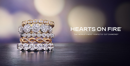 Hearts on Fire stacked diamond band rings.