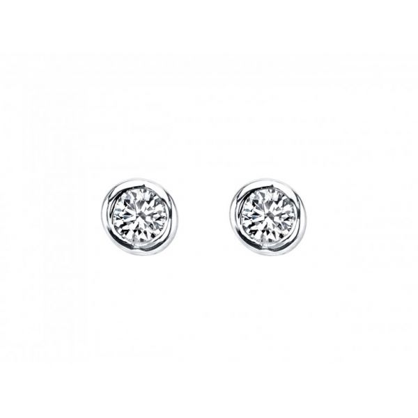 Bezel set diamond studs Storey Jewelers Gonzales, TX