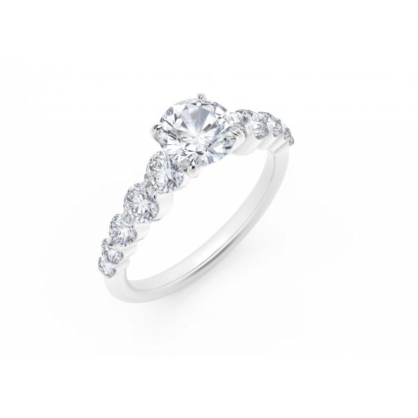 Forevermark Icon Setting Round Engagement Ring with Graduated Diamond Band Image 2 SVS Fine Jewelry Oceanside, NY