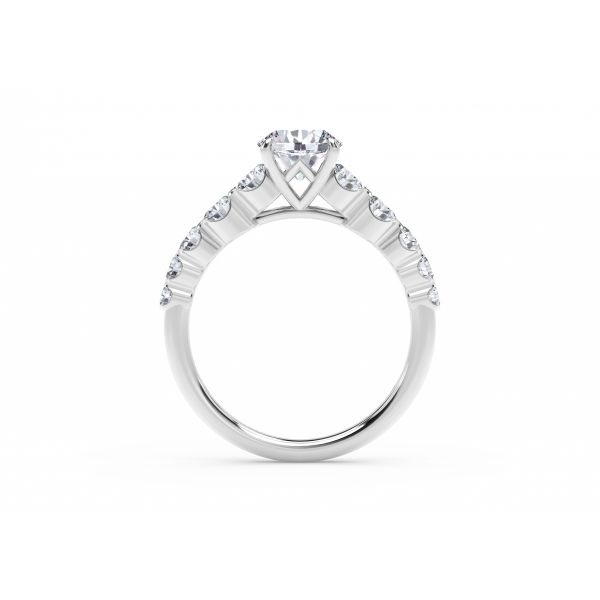 Forevermark Icon Setting Round Engagement Ring with Graduated Diamond Band Image 3 SVS Fine Jewelry Oceanside, NY