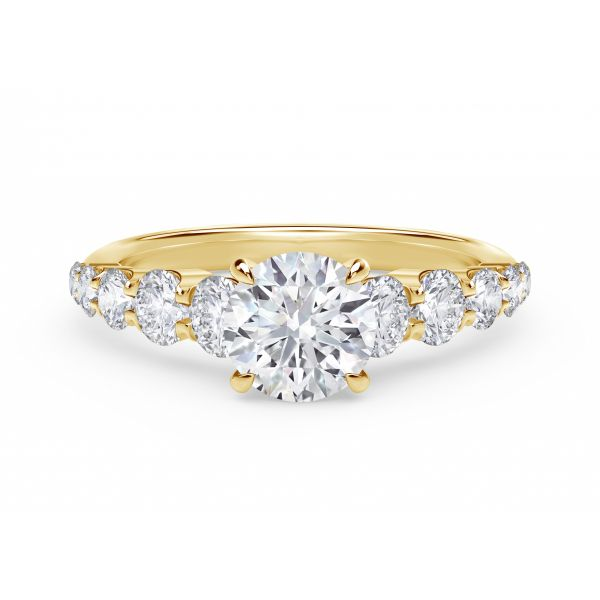 Forevermark Icon Setting Round Engagement Ring with Graduated Diamond Band SVS Fine Jewelry Oceanside, NY