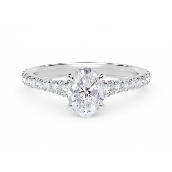 Forevermark Icon Setting Oval Engagement Ring with Diamond Band SVS Fine Jewelry Oceanside, NY