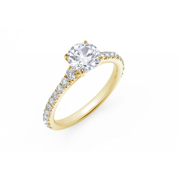 Forevermark Icon Setting Round Engagement Ring with Diamond Band Image 2 SVS Fine Jewelry Oceanside, NY