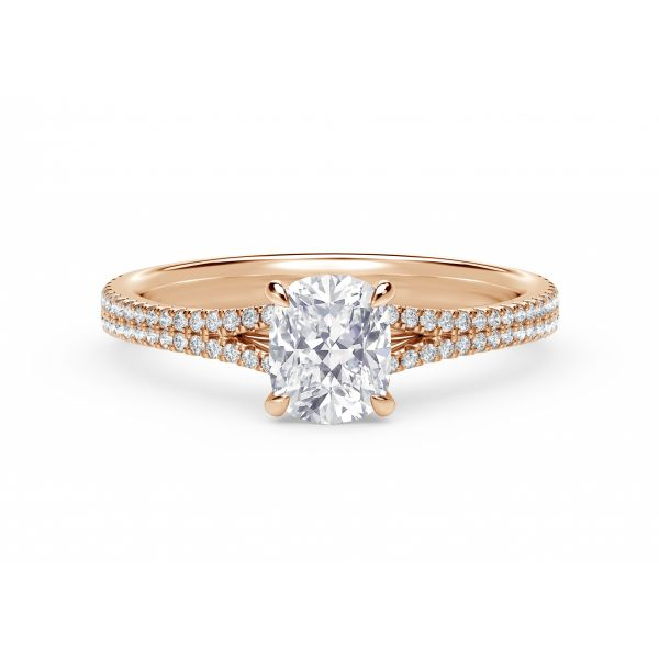 Forevermark Icon Setting Cushion Engagement Ring with Two Row Pave Band SVS Fine Jewelry Oceanside, NY