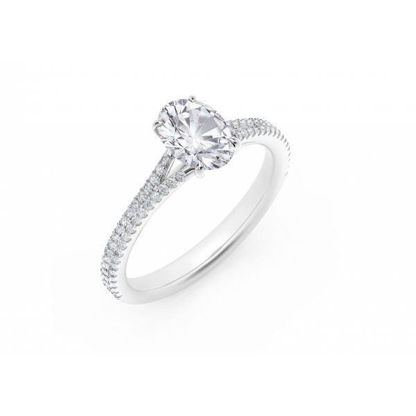 Forevermark Icon Setting Oval Engagement Ring with Two Row Pave Band Image 2 SVS Fine Jewelry Oceanside, NY