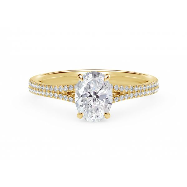 Forevermark Icon Setting Oval Engagement Ring with Two Row Pave Band SVS Fine Jewelry Oceanside, NY