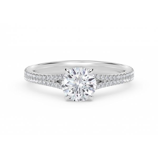 Forevermark Icon Setting Round Engagement Ring with Two Row Pave Band SVS Fine Jewelry Oceanside, NY