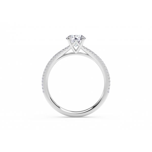 Forevermark Icon Setting Round Engagement Ring with Two Row Pave Band Image 3 SVS Fine Jewelry Oceanside, NY