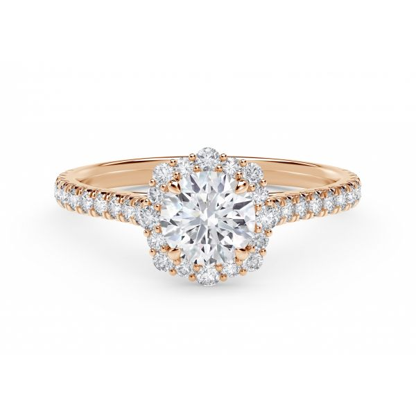 Center of My Universe Floral Halo Engagement Ring with Diamond Band SVS Fine Jewelry Oceanside, NY