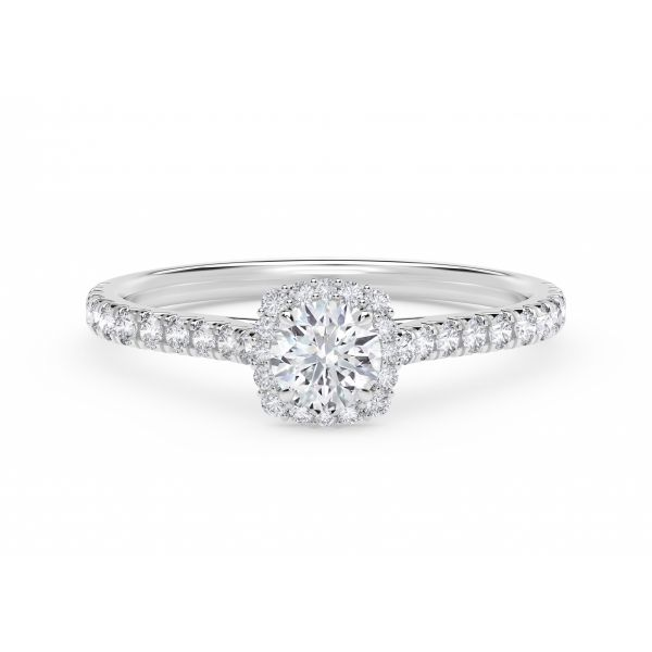 Center of My Universe Round with Cushion Halo Engagement Ring with Diamond Band SVS Fine Jewelry Oceanside, NY