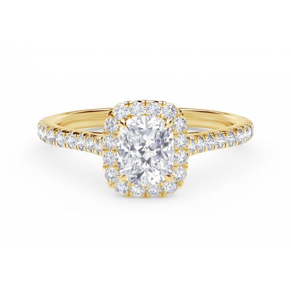 Center of My Universe Cushion Halo Engagement Ring with Diamond Band SVS Fine Jewelry Oceanside, NY