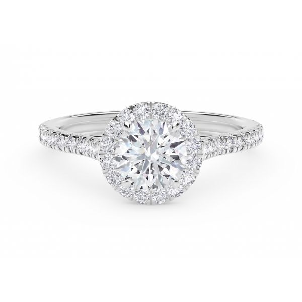 Center of My Universe Round Halo Engagement Ring with Diamond Band SVS Fine Jewelry Oceanside, NY