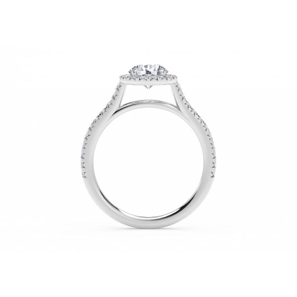Center of My Universe Round Halo Engagement Ring with Diamond Band Image 3 SVS Fine Jewelry Oceanside, NY