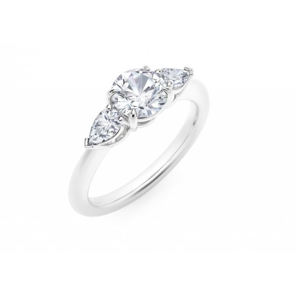 Forevermark Accents Engagement Ring with Pear Sides Image 2 SVS Fine Jewelry Oceanside, NY