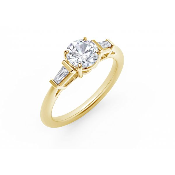 Forevermark Accent Engagement Ring with Tapered Baguette Sides Image 2 SVS Fine Jewelry Oceanside, NY