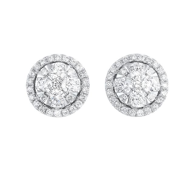 Diamond Starbright Round Halo Cluster Stud Earrings SVS Fine Jewelry Oceanside, NY
