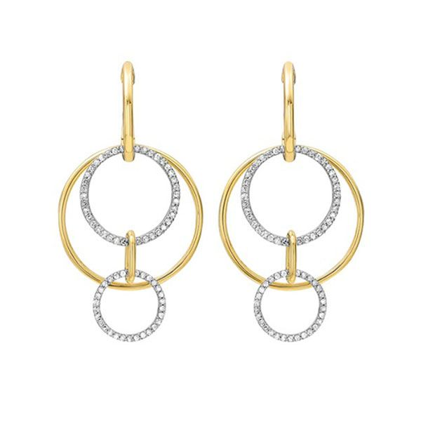 Cutout Circle Diamond Earrings In Yellow Gold SVS Fine Jewelry Oceanside, NY