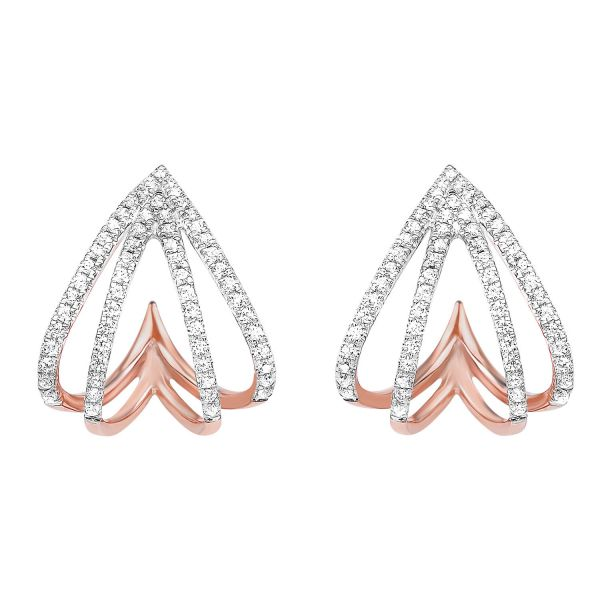 Diamond Spade Earrings In Rose Gold SVS Fine Jewelry Oceanside, NY