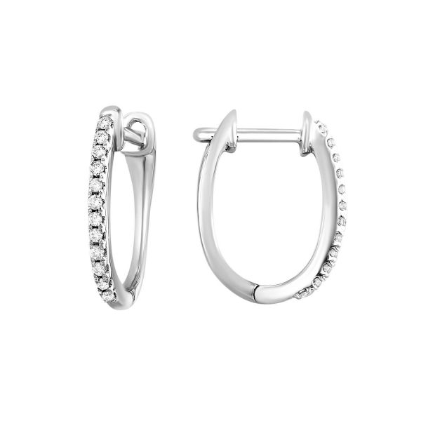 Oval White Gold Diamond Hoops SVS Fine Jewelry Oceanside, NY
