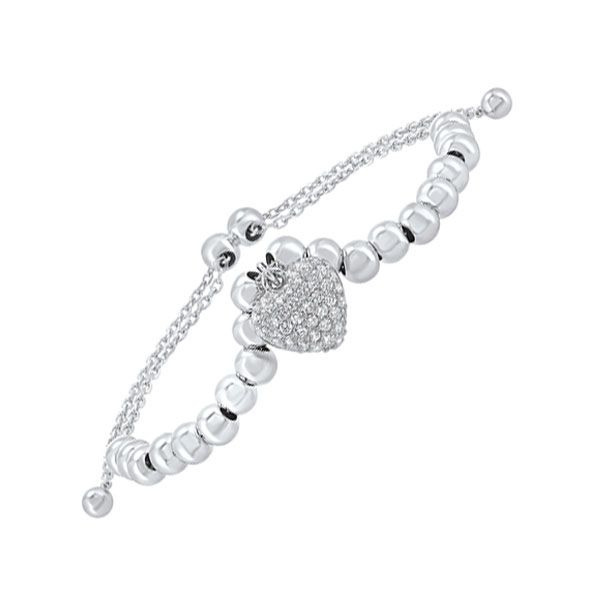 Dangle Heart Adjustable Bolo Bracelet with cubic zirconia SVS Fine Jewelry Oceanside, NY