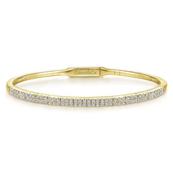 Yellow Gold Two Row Diamond Bangle SVS Fine Jewelry Oceanside, NY