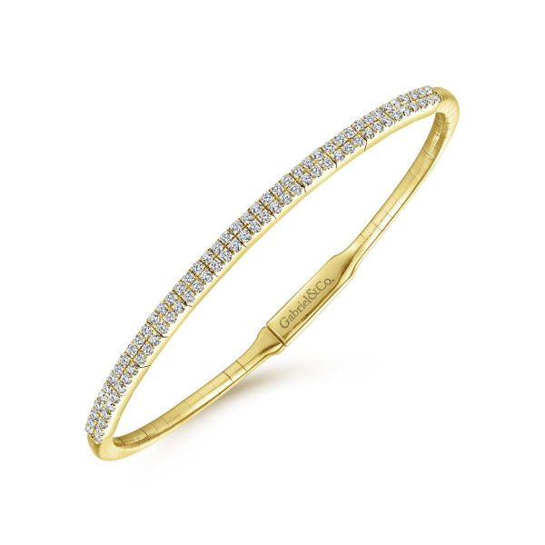 Yellow Gold Two Row Diamond Bangle Image 2 SVS Fine Jewelry Oceanside, NY