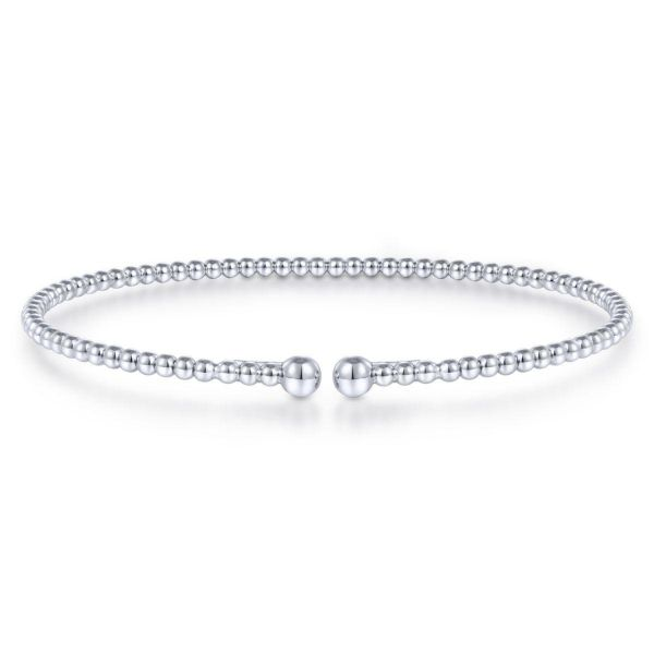 Split White Gold Beaded Bujukan Bangle SVS Fine Jewelry Oceanside, NY