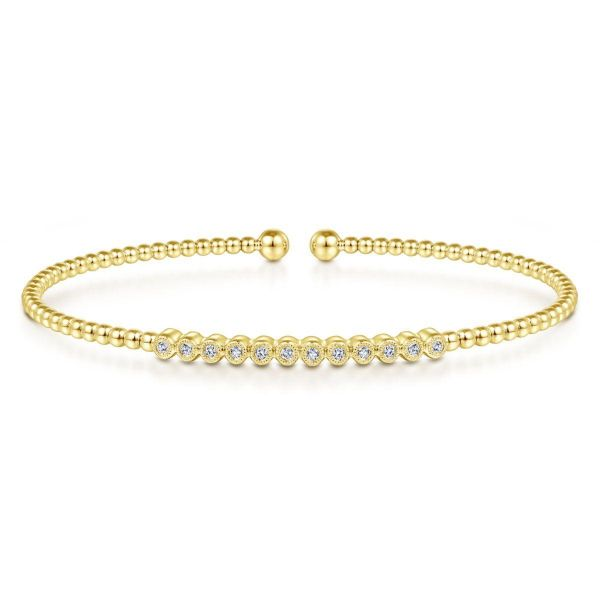 Yellow Gold Bujukan Bead Cuff Bracelet with Bezel Set Diamond Stations SVS Fine Jewelry Oceanside, NY