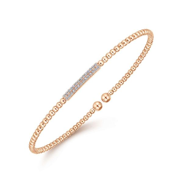 Rose Gold Bujukan Bead Cuff Bracelet with Diamonds Image 2 SVS Fine Jewelry Oceanside, NY