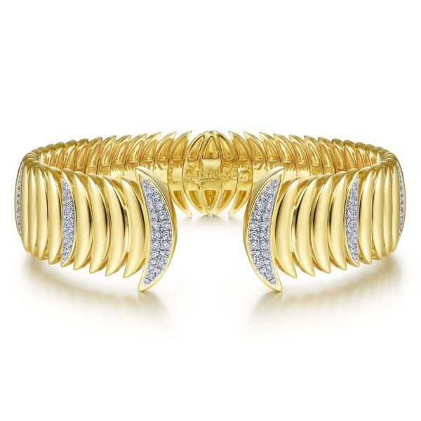 Yellow Gold Crescent Moon Open Cuff Bracelet with Diamond Pavé Stations SVS Fine Jewelry Oceanside, NY