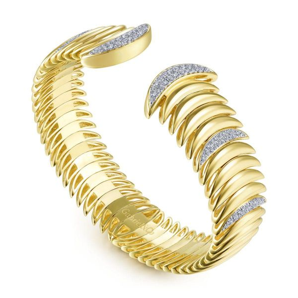 Yellow Gold Crescent Moon Open Cuff Bracelet with Diamond Pavé Stations Image 2 SVS Fine Jewelry Oceanside, NY