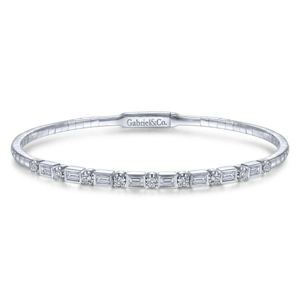 White Gold Alternating Baguette and Round Diamond Bangle SVS Fine Jewelry Oceanside, NY