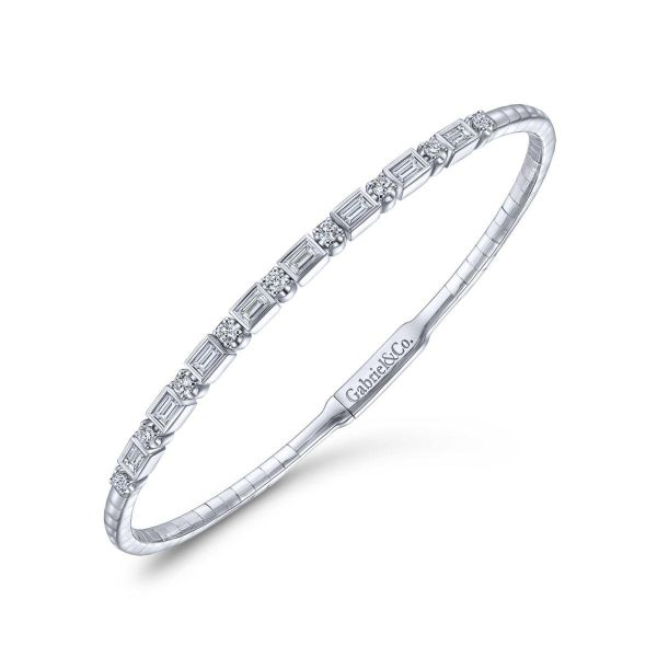 White Gold Alternating Baguette and Round Diamond Bangle Image 2 SVS Fine Jewelry Oceanside, NY