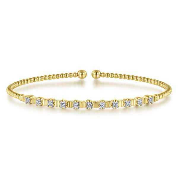 Yellow Gold Bujukan Bead Cuff Bracelet with Diamond Stations SVS Fine Jewelry Oceanside, NY