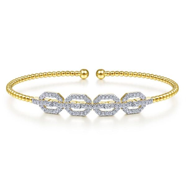 Yellow Gold Bujukan Bead Cuff Bracelet with Diamond Pavé Links SVS Fine Jewelry Oceanside, NY