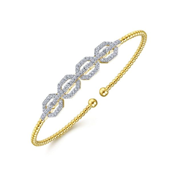 Yellow Gold Bujukan Bead Cuff Bracelet with Diamond Pavé Links Image 2 SVS Fine Jewelry Oceanside, NY