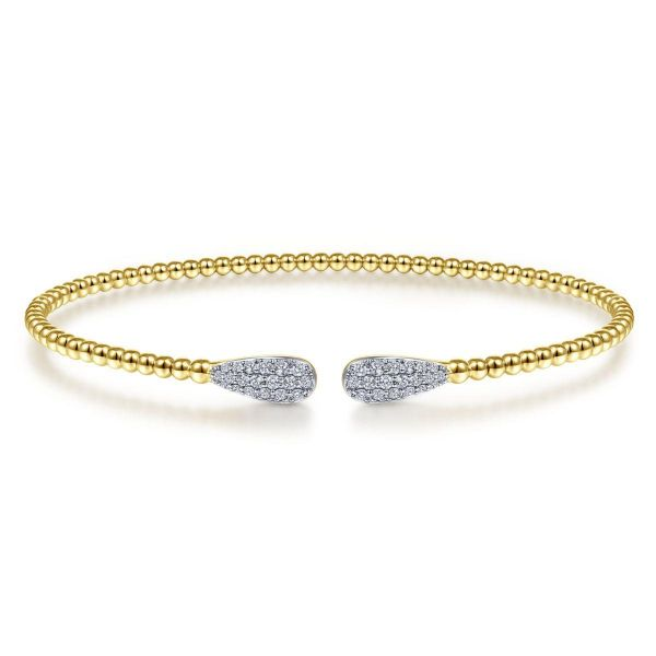 Yellow Gold Bujukan Bead Cuff Bracelet with Diamond Pavé Teardrops SVS Fine Jewelry Oceanside, NY