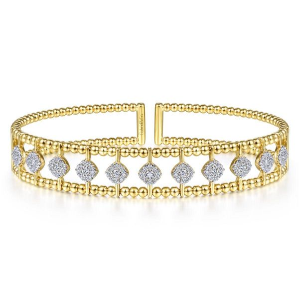 Yellow Gold Bujukan Bead Cuff Bracelet with Pavé Diamond Connectors SVS Fine Jewelry Oceanside, NY