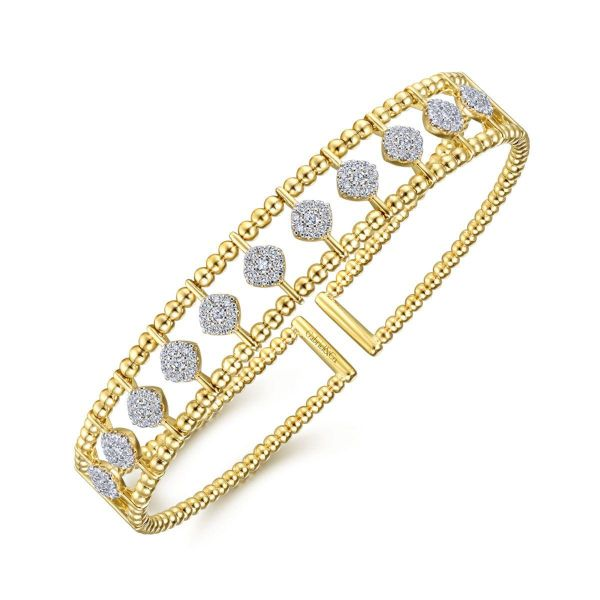 Yellow Gold Bujukan Bead Cuff Bracelet with Pavé Diamond Connectors Image 2 SVS Fine Jewelry Oceanside, NY