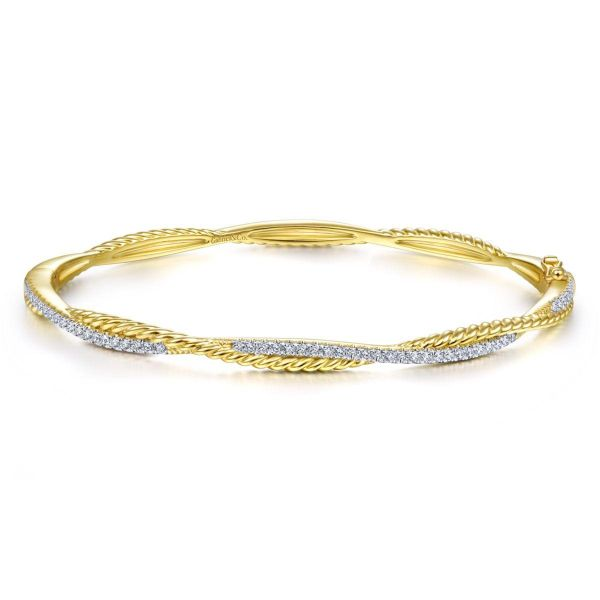 Yellow Gold Twisted Rope and Diamond Bangle SVS Fine Jewelry Oceanside, NY