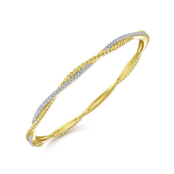 Yellow Gold Twisted Rope and Diamond Bangle Image 2 SVS Fine Jewelry Oceanside, NY