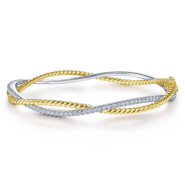 Yellow-White Twisted Rope and Diamond Bangle Bracelet SVS Fine Jewelry Oceanside, NY